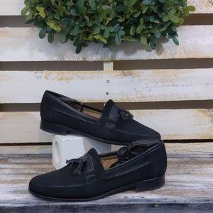 Bruno magli black leather loafers size 12